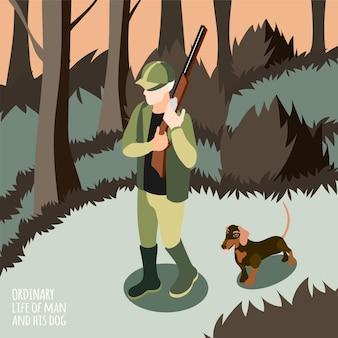 Gewöhnliches leben des menschen und seines hundes isometrischer mann auf der jagd mit seiner hundevektorillustration