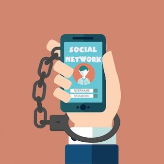 Gewöhnt zu den sozialen netzwerken