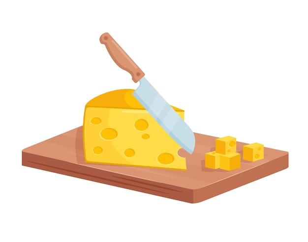 Gewürfelter käse auf holzbrett beim kochen des küchenmessers des lebensmittelprozesses
