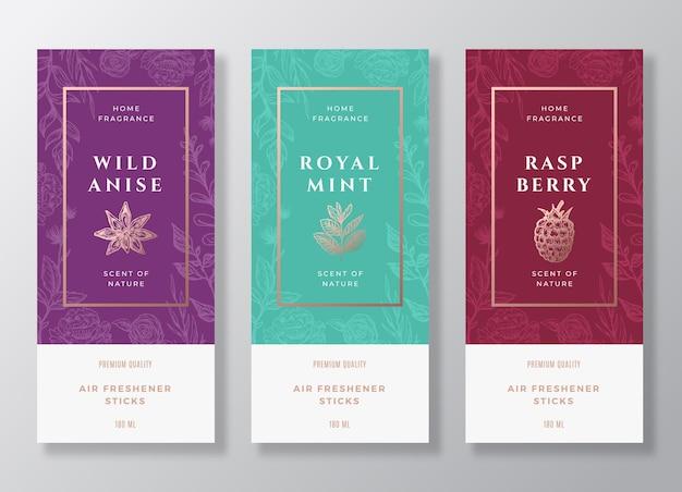 Gewürze und beeren home fragrance abstract labels template set.