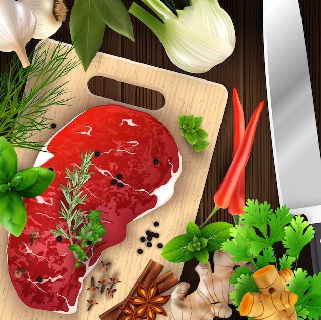 Gewürze und kräuter und fleisch mit schneidebrett und messer