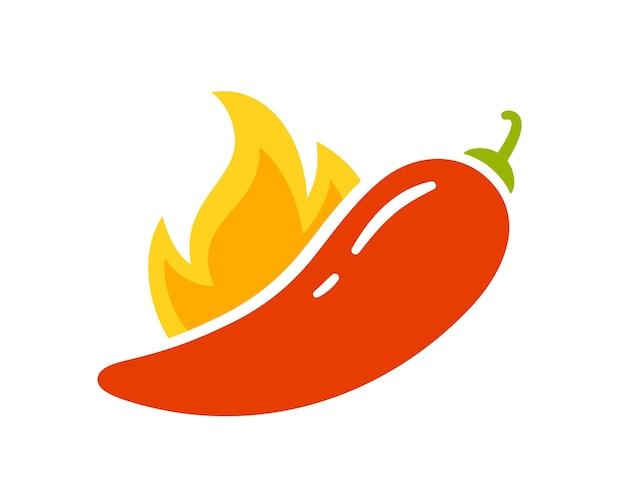 Gewürzstufen - scharf, scharf oder extra scharf. rote chilischote und flamme. symbol des pfeffers mit feuer. chili-level-symbol. vektor-illustration isoliert auf weißem hintergrund
