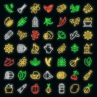 Gewürzsymbole gesetzt. umrisse von gewürzvektorsymbolen neonfarbe auf schwarz