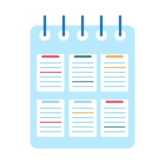 Gewundenes notizbuch lokalisiert auf weißem hintergrund. schulheft. tagebuch fürs geschäft. flache designillustration des vektors
