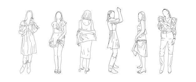 Gezeichnet in einem linearen stil teenager-mädchen. vektor-illustration.