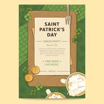 Gezeichnet st. patrick's day flyer vorlage