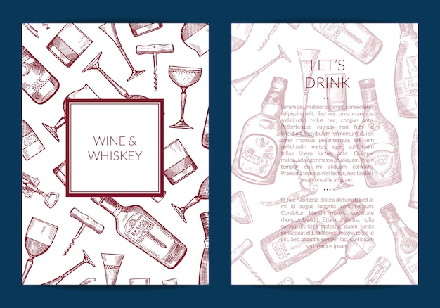 Gezeichnete alkoholgetränkflaschen und glaskarte des vektors hand