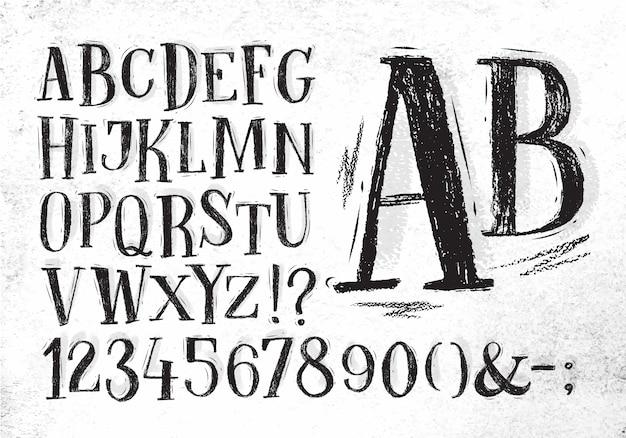 Gezeichnete alphabetzeichnung der zeichenstiftzeichnungsweinlese hand in der schwarzen farbe auf schmutzigem papierhintergrund