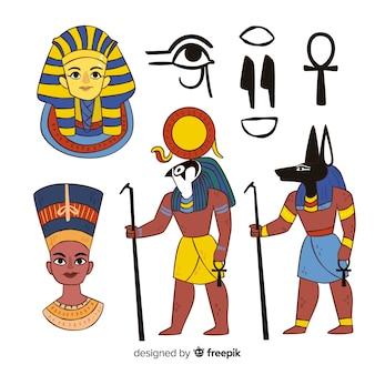 Gezeichnete art ägyptens symbole und gezeichnete sammlung der götter in der hand