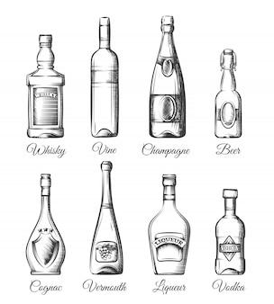 Gezeichnete art der alkoholflaschen in der hand