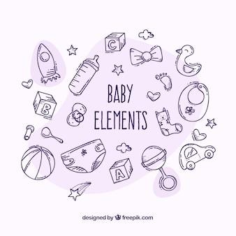 Gezeichnete art der babyelemente in der hand eingestellt