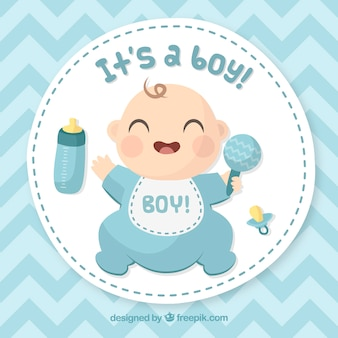 Gezeichnete art der babykarte in der hand