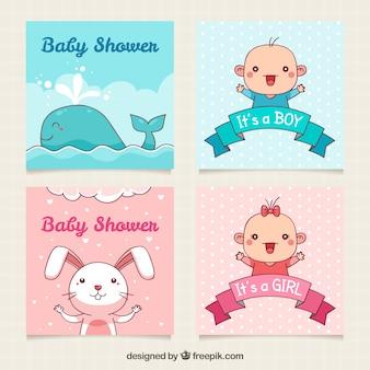 Gezeichnete art der babykartensammlung in der hand