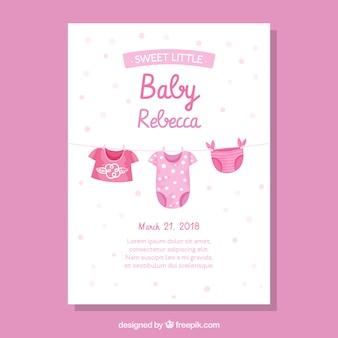Gezeichnete art der babypartyeinladung in der hand