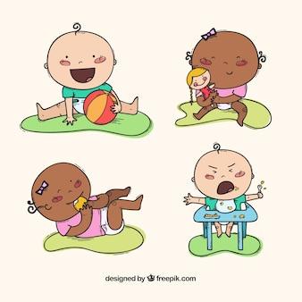 Gezeichnete art der babysammlung in der hand