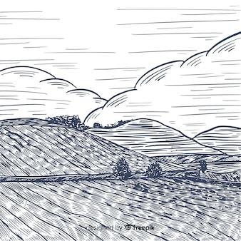 Gezeichnete art der bauernhoflandschaft in der hand