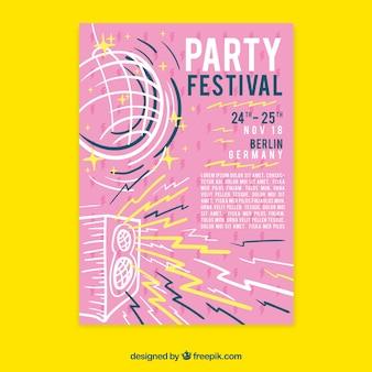Gezeichnete art der festivalplakat templatewith hand
