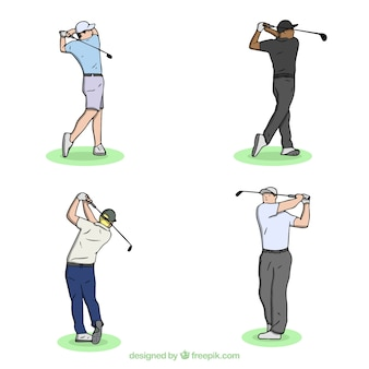 Gezeichnete art der golfschwingensammlung in der hand