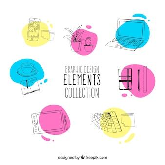 Gezeichnete art der grafischen designelementsammlung in der hand