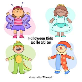 Gezeichnete art der halloween-artansammlung in der hand