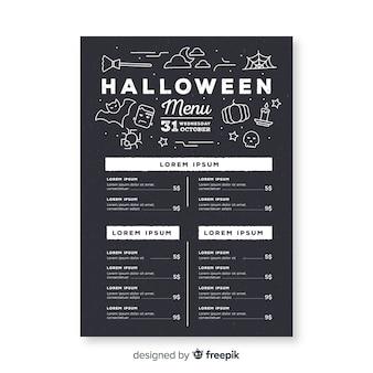 Gezeichnete art der halloween-menüschablone in der hand
