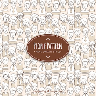 Gezeichnete Art der Leute Muster in der Hand