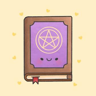 Gezeichnete art der magischen zauberbuch-karikatur hand