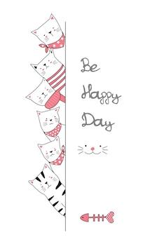 Gezeichnete art der netten babykatzen-karikatur hand