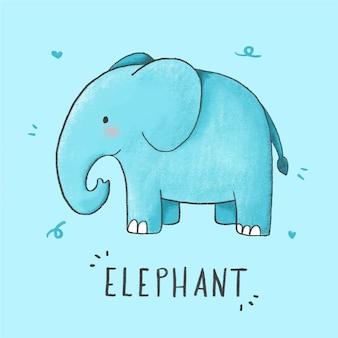 Gezeichnete art der netten elefantkarikatur hand Premium Vektoren