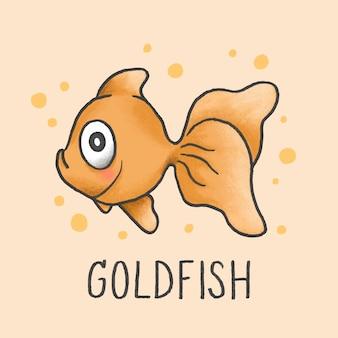 Gezeichnete art der netten goldfischkarikatur hand