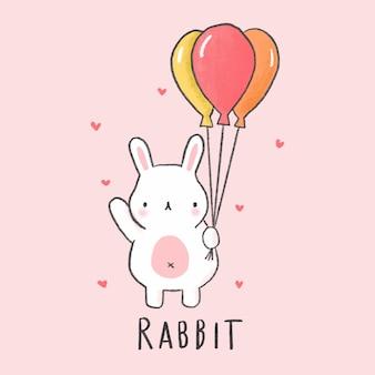 Gezeichnete art der netten kaninchenkarikatur hand