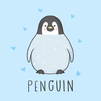 Gezeichnete art der netten pinguinkarikatur hand