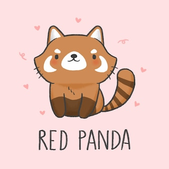Gezeichnete art der netten roten panda-karikatur hand