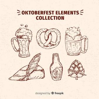 Gezeichnete art der oktoberfest elementsammlung in der hand