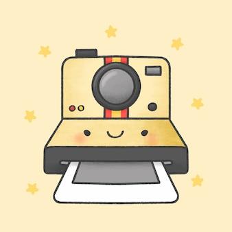 Gezeichnete art der polaroidkamera-karikatur hand