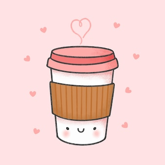 Gezeichnete art der tasse kaffee-karikatur hand