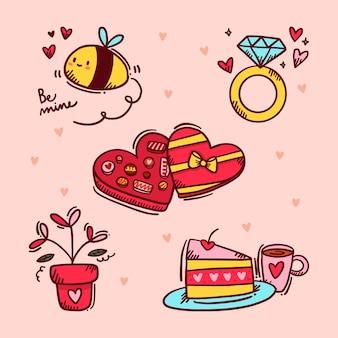 Gezeichnete art der valentinstagelementsammlung hand