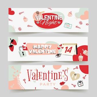 Gezeichnete art der valentinstagfahnen hand