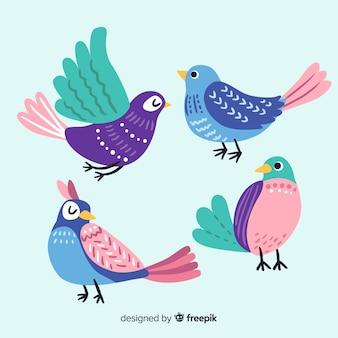 Gezeichnete art der vogelsammlung hand