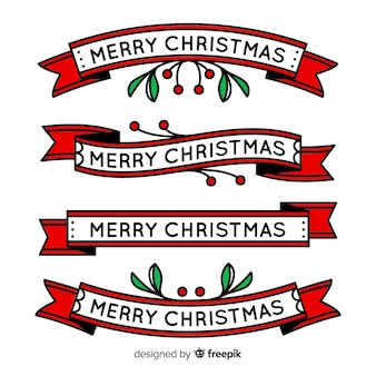 Gezeichnete art der weihnachtsband-sammlung hand