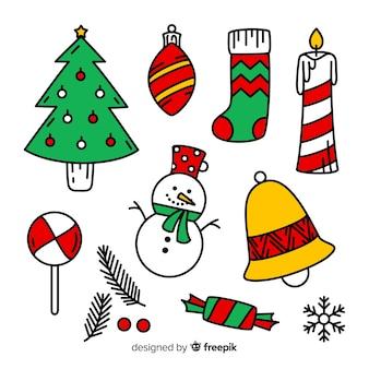 Gezeichnete art der weihnachtselementsammlung hand