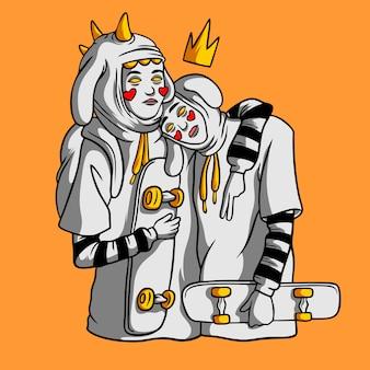 Gezeichnete art der zwillinge schöne skateborder hand