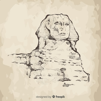 Gezeichnete art des ägypten-sphinxhintergrundes hand