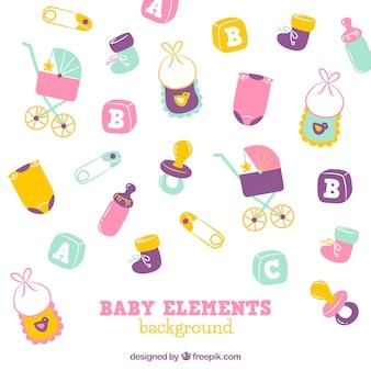 Gezeichnete art des babyelement-hintergrundes in der hand
