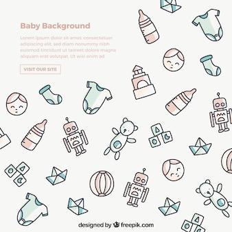 Gezeichnete art des babyhintergrundes in der hand