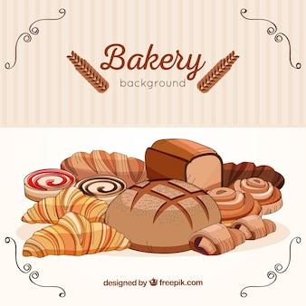 Gezeichnete art des bäckereihintergrundes in der hand