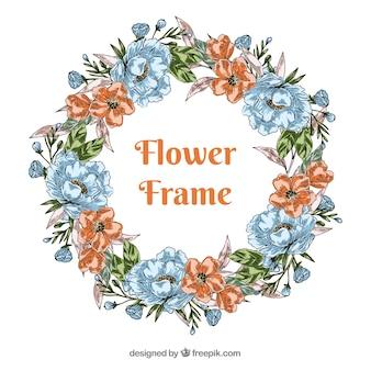 Gezeichnete Art des Blumenrahmens in der Hand