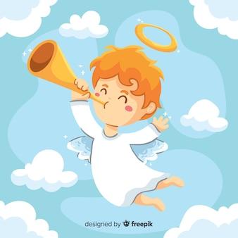 Gezeichnete art des engels des kleinen kindes hand