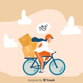 Gezeichnete art des fahrradlieferungskonzeptes in der hand