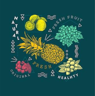 Gezeichnete art des fruchtgekritzels hand